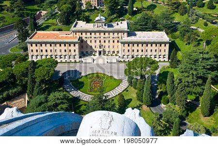 Rome the Città del Vaticano gardens and palace seen from the cathedral top terrace