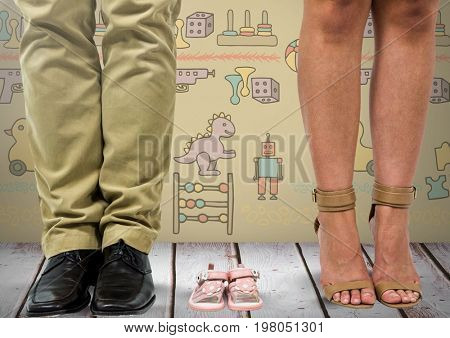 Digital composite of Father and mother's legs with child's shoes sandals with toys graphics