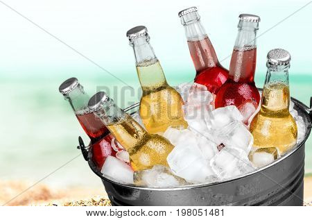 Bucket ice bottles beer bar pub background