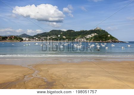 Beautiful beach La Concha in the city of San Sebastian. Basque country Spain