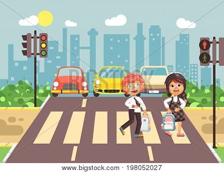 Stock vector illustration cartoon characters children, observance traffic rules, boy and girl schoolchildren classmates go to road pedestrian zone crossing, city background back to school flat style