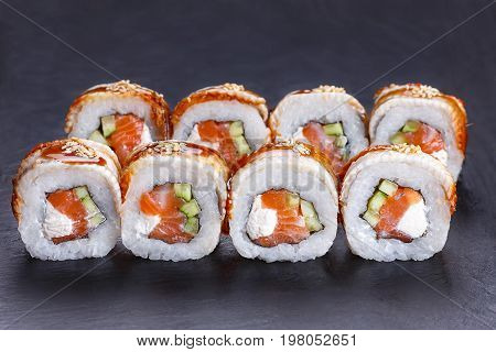 Delicious Golden Dragon Sushi Rolls With Smoked Eel, Unagi Sauce