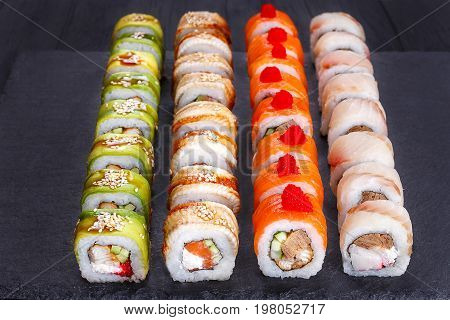 Delicious Multicolored Uramaki Sushi Rolls Set, Great Assortment