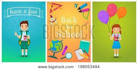 Welcome back to school. Cute school pupils kids templates and baners. Pupil Boy with backpack and girl with ballons. School study equipment cartoon vector illustration