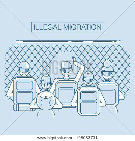 refugees go through the hole in the fence. group of immigrants on the background of the tent. thin flat line style