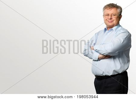 Man man face color blue background view business