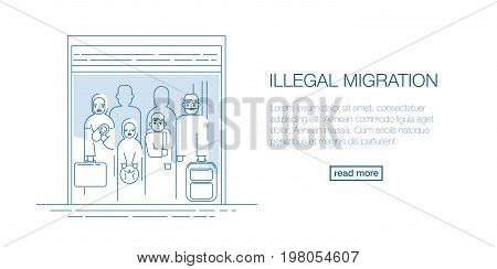 refugee migration banner sign in thin line flat style