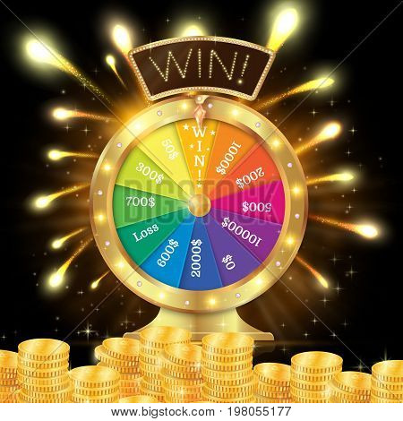 Realistic 3D Spinning Fortune Wheel, Lucky Roulette Vector Illus