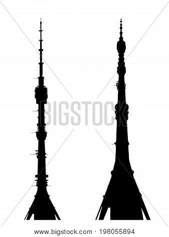 Ostankino TV tower silhouette sight vector. From different angles from near and far. Television skyscraper Moscow Russia Landmark. Height - 540.1 m