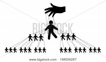 Pyramidal management of people silhouette , vector