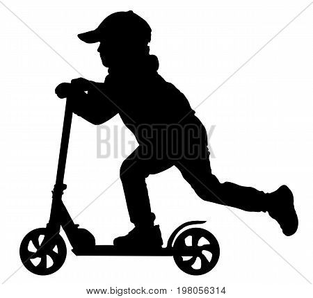 Silhouette of baby boy on scooter, vector
