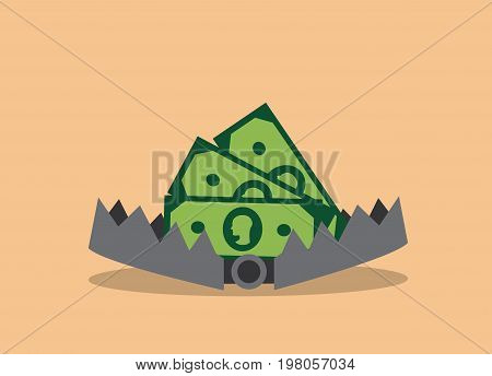 In the open iron trap lies money