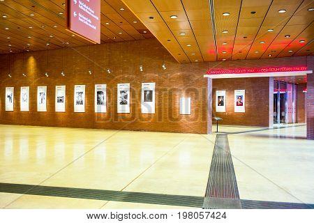 Rome Italy - March 12 2014: The foyer of Santa Cecilia Academy in the Parco Della musica complex designed by Renzo Piano