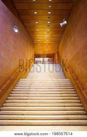 Rome Italy - March 12 2014: The main staircase of Santa Cecilia Academy in the Parco Della musica complex designed by Renzo Piano