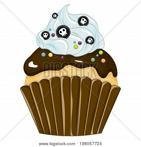 Vector illustration of a Halloween purple cupcake isolated white background. Happy Halloween scary sweets. Sweet candy.
