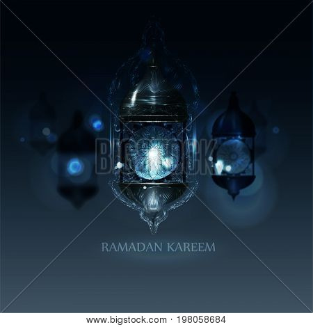 Ramadan Kareem Greeting. vector illustration in arabic style for Ramadan wishing. Mosque for Islamic holy month of prayer, Ramadan Kareem celebration.