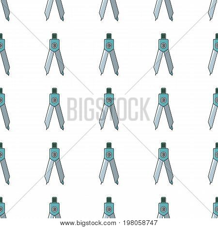 Compasses drawing tool seamless pattern in cartoon style isolated on white background vector illustration for web