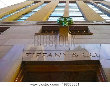 New York, USA - February 13, 2013: Tiffany and Co. Building on Wall Street in the Financial District in New York, USA on February 13, 2013. A luxury American multinational jewelry and silverware corporation.