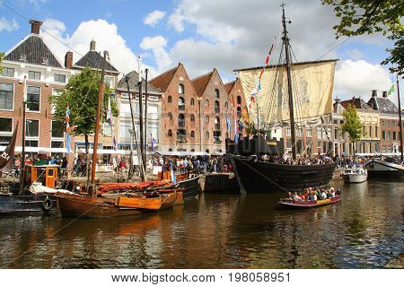 Groningen.July-29-2017. Historic boats at the Hoge der. Aa in the city of Groningen. The Netherlands