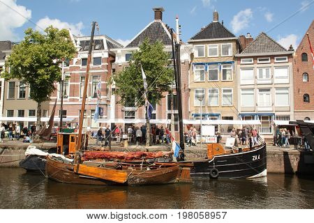 Groningen.July-29-2017. Historic boats ar the Hoge der Aa in the city of Groningen. The Netherlands