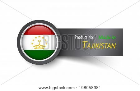 Flag Icon And Label With Text Made In Tajikistan