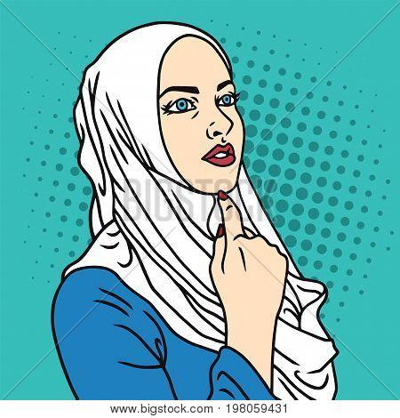 Hijab Muslim Woman Pop Art Comics Style Vector Illustration