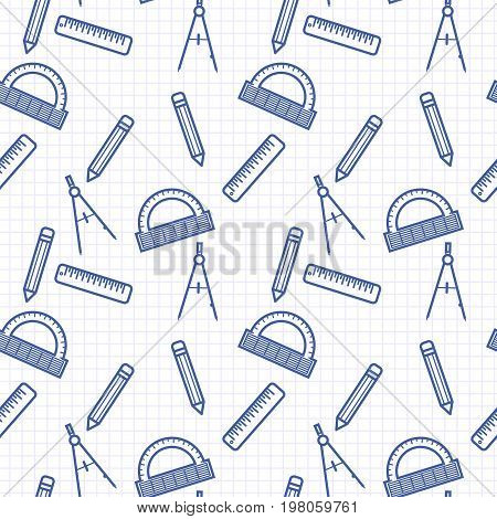 Seamless pattern with blue line art icon of ruler, compasses, pencil and angle ruler on notebook page background. Vector illustration. Background for dress, manufacturing, wallpapers, prints, gift wrap and scrapbook. Back to school