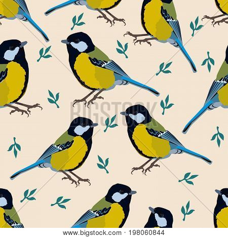 Bird  Illustration Tomtit With Leaves Floral Background