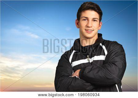 Man black clothes handsome he man face color