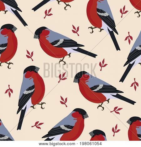 Bird  Illustration Bullfinch With Leaves Floral Background