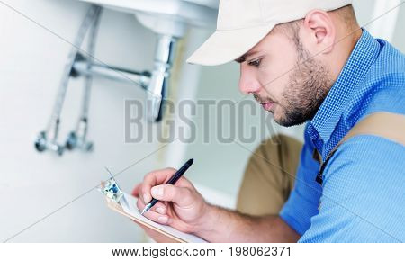 Professional profession plumber pipes fix fixing equipment