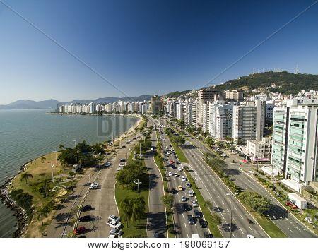 Beach And Buildings Beira Mar Norte / Florianopolis. Santa Catarina, Brazil. July, 2017