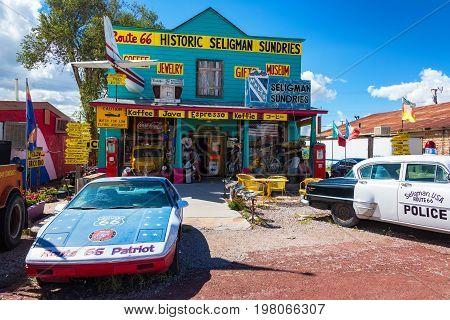 SELIGMAN AZ - SEPTEMBER 16: Historic shop on Route 66 in Seligman AZ on September 16 2015