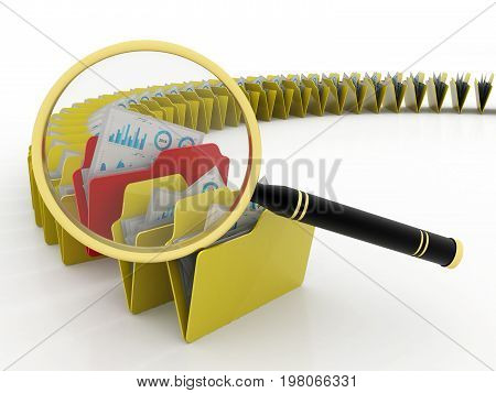 folders search concept, folders under the magnifier isolated on digital background. 3d render