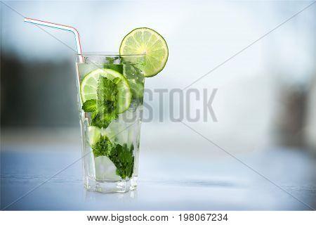 Glass fresh refreshing mojito color pub blue