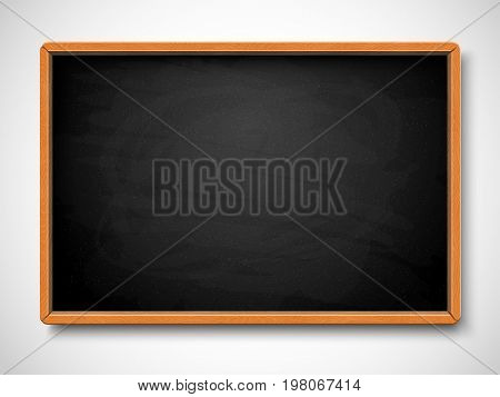 Black chalkboard. Vector illustration. Object for back to school, education and science design