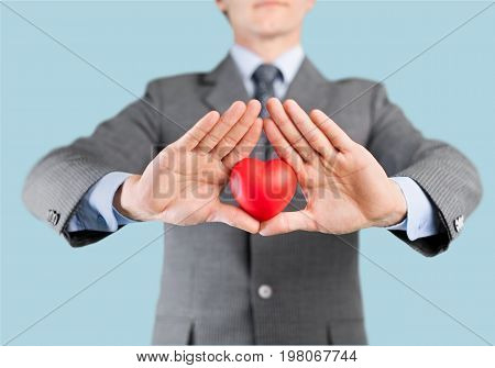 Red business man hands heart businessman felt