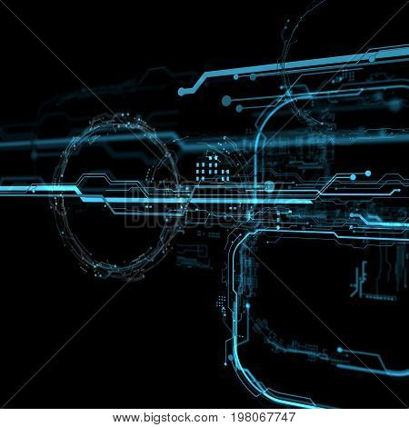 Futuristic user interface. Element user interface. Blue elements. 3d projection. 3d hologram. 3d rendering. 3d illustration