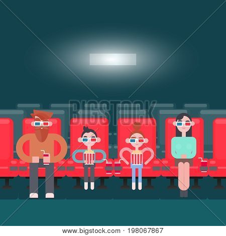 Vector illustration. Banner for the cinema. Viewers at the cinema. people on the seats from the top of theater