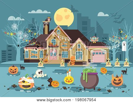Stock vector illustration cartoon house with courtyard decorated pumpkins, skeletons, cauldron celebrate holiday party Happy Halloween, brochure, flyer, leaflet or card for Trick-or-Treat flat style