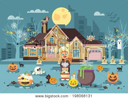 Stock vector illustration cartoon character child Trick-or-Treat, girl costume, fancy dresses basket in hand stands near cauldron celebrate holiday party Happy Halloween pumpkins, skeletons flat style