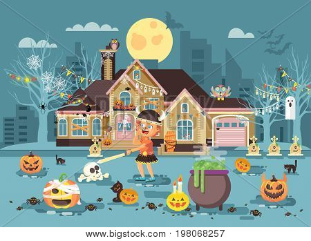 Stock vector illustration cartoon character child Trick-or-Treat, boy costumes, fancy dresses warrior Viking with sword celebrate holiday party Happy Halloween, decorated pumpkins, skeletons flat style