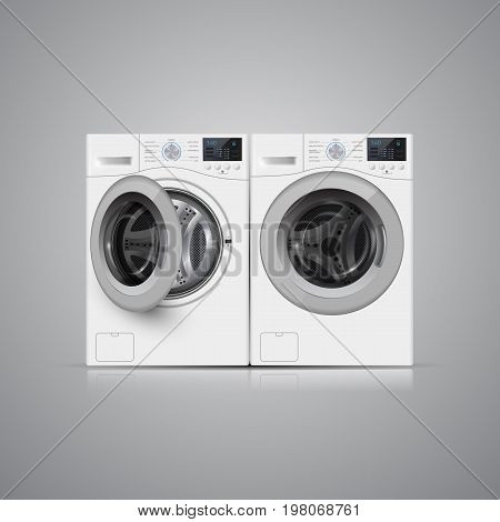 Vector Illustration Of  Two   Washers On Grey Background. Front