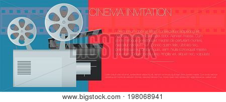 Vector illustration. Banner for the cinema. old movie projector