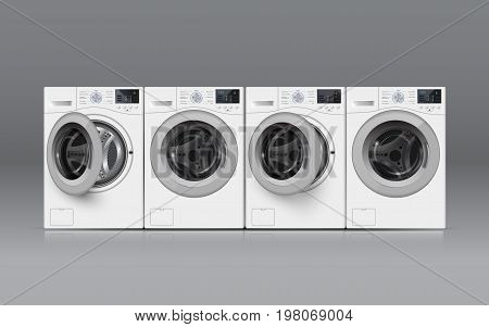 Realisic Vector Washers On Grey Background. Front View.