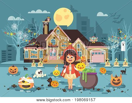Stock vector illustration banner brochure cartoon character child Trick-or-Treat, girl costume fancy dresses Little Red Riding Hood cauldron celebrate holiday party Happy Halloween pumpkins flat style
