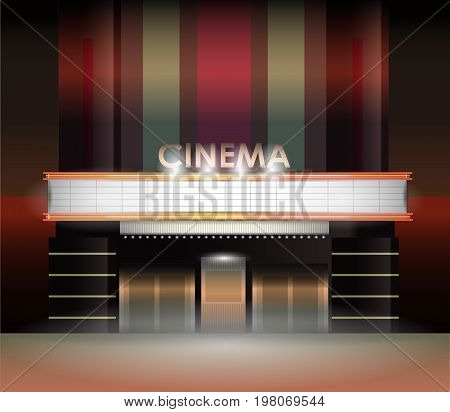 Brightly theater glowing retro cinema neon sign. Vector illustration. Banner for the cinema