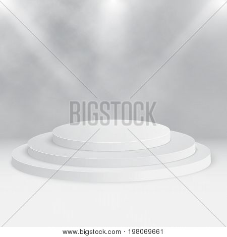 Round Stage Podium, Pedestal Isolated On White Background