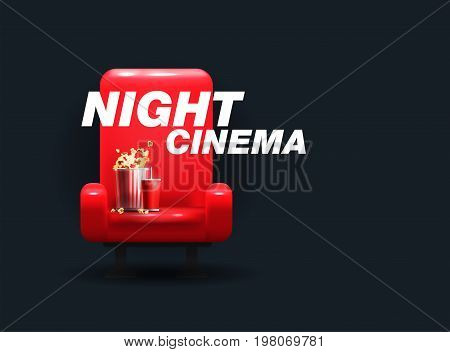 RED comfortable realistic cinema seats. cinema armchair. Vector illustration. Banner for the cinema