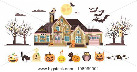 Stock vector illustration isolated cartoon house decorated pumpkins, skeletons celebrate holiday party Happy Halloween, brochure, flyer, leaflet or card for Trick-or-Treat flat style white background